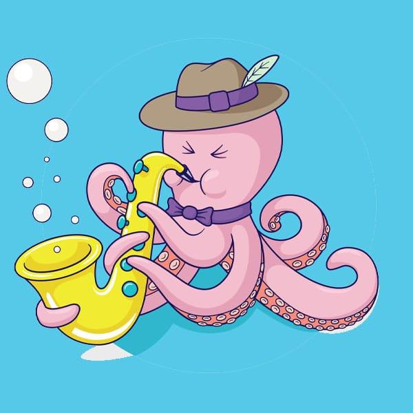 Dessin d'une pieuvre jouant de la musique