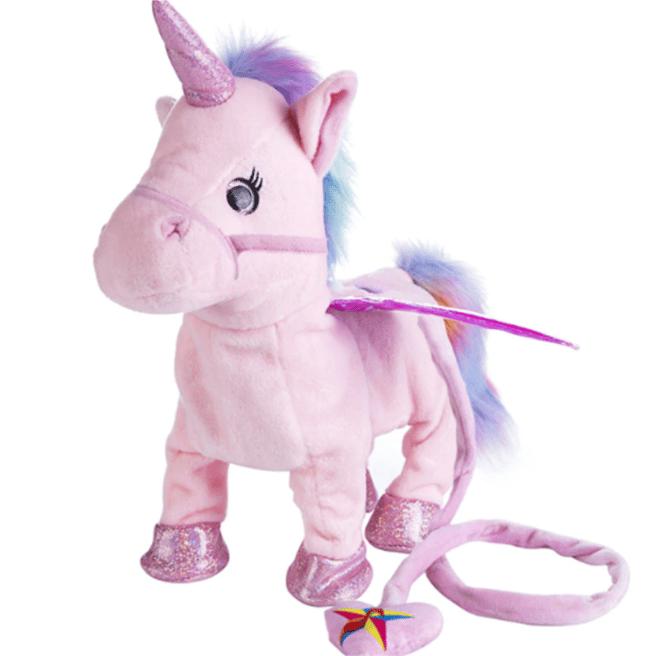 Une licorne rose en peluche